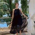 Ruffled Chiffon Maxi Halter Dress