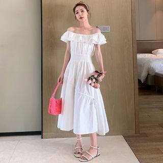 Off-shoulder Frill Trim A-line Midi Dress