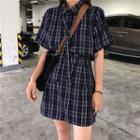 Plaid Short-sleeve Blouse / Plaid A-line Skirt