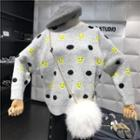 Smiley Face Dotted Sweater