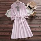 Long-sleeve Plaid Ribbon A-line Midi Dress