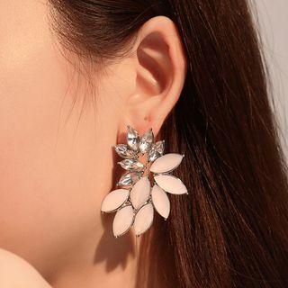 Leaf Ear Stud 01 - Dz051 - 1 Pair - Champagne - One Size