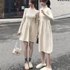 Mockneck Wool Knit Dress