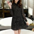 Dotted Long Sleeve Chiffon Dress
