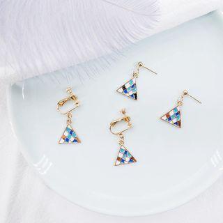Color Panel Triangle Dangle Earring