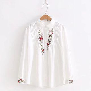 Embroidery Pintuck Blouse
