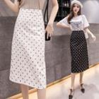 Dotted Midi Straight-cut Skirt