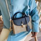 Straw Panel Faux Leather Shoulder Bag