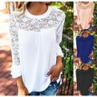 Long Sleeve Panel Lace Top