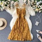 Open-back Suspender Floral Dress
