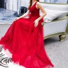 Bow Sleeveless A-line Evening Gown