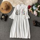 Embroidered Linen Shirt Dress