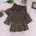 Leopard Print Smocked Blouse