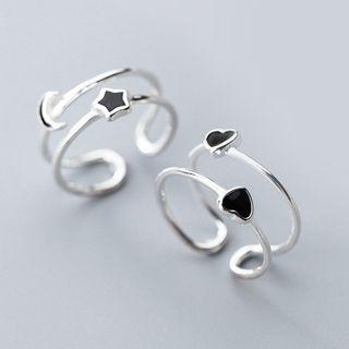 925 Sterling Silver Moon & Star / Heart Layered Open Ring