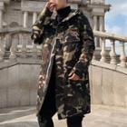 Camouflage Hooded Midi Zip Coat