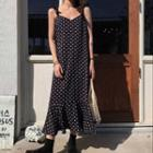 Dotted Ruffle Trim Dress As Shown In Figure - One Size