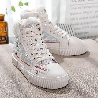 Fleece-lined Quilted High-top Sneakers