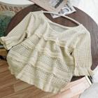 Ruffle Pointelle Knit Short-sleeve Top