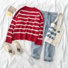 Striped Sweater / Distressed Jeans