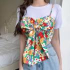 Set: Plain T-shirt + Sleeveless Bow-accent Floral Top