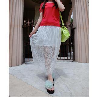 Lace-panel Midi Skirt