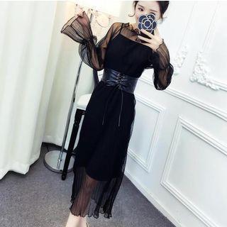 Set: Long-sleeve Midi Mesh Dress + Slipdress + Lace-up Belt
