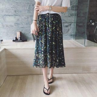 Printed Midi Chiffon Skirt
