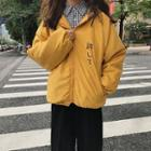 Contrast Hooded Print Padded Jacket