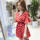 Dotted Short-sleeve Chiffon Playsuit