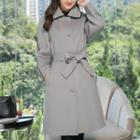 Buttoned Sashed Long Coat