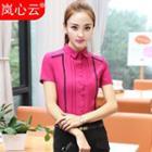 Lace Trim Short Sleeve Pintuck Shirt