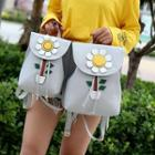 Flower Faux Leather Backpack