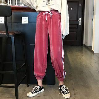 Cropped Contrast-trim Velvet Sweatpants