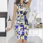 Sleeveless Cutout Patterned Pencil Dress