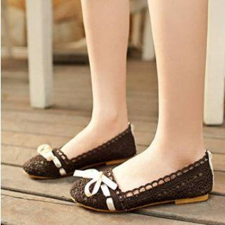 Bow-accent Lace Flats