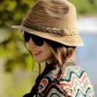 Multicolor Straw Fedora Hat