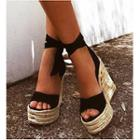 Peep Toe Ankle Strap Platform Wedge Sandals