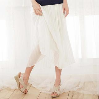 Accordion-pleat Chiffon Maxi Skirt