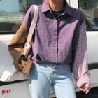 Plaid Panel Shirt Purple - One Size