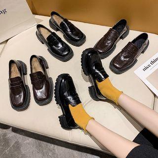 Fleece Lined Block-heel Loafers