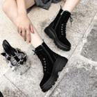 Genuine Leather Side Zipper Platform Ankle Boots
