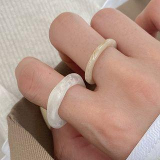 Faux Pearl Ring Set Of 3 - 1541a - White - One Size