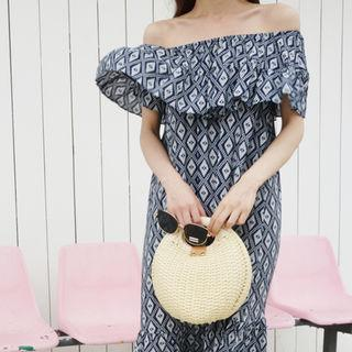 Patterned Ruffle-trim Off-shoulder Maxi Dress