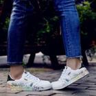 Paint Splattered Mesh Panel Sneakers