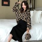 Animal Print Sweater / Midi Skirt