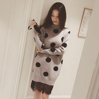 Lace Hem Polka Dot Knit Dress