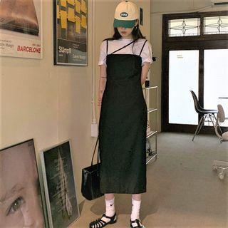 Short-sleeve T-shirt / Spaghetti Strap Midi Sheath Dress / Set