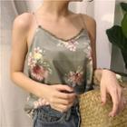 Lace Trim Floral Print Camisole Top