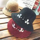 Floral Embellished Knit Bucket Hat