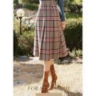 Pleated Midi Plaid Skirt